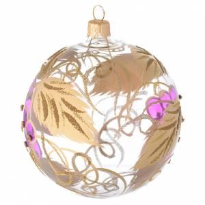 Addobbo palla vetro soffiato decoro uva 100 mm s2
