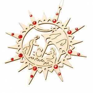 Adornos de madera y pvc para Árbol de Navidad: Adorno estrella entallada belen Swarovski rojos