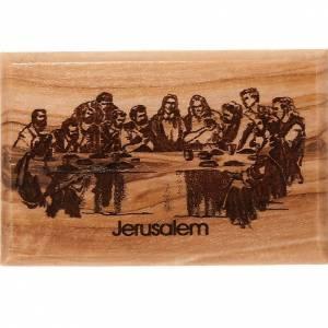 Magnets religieux: Aimant en bois d'olivier, dernière cène.
