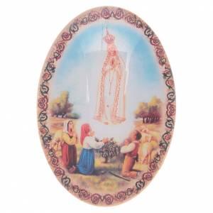 Magnets religieux: Aimant en verre ovale avec Notre-Dame de Fatima