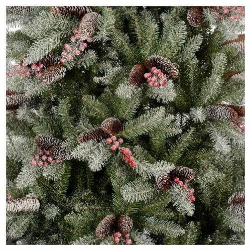 Albero di Natale 240 cm Slim con neve floccato bacche pigne Dunhill s2