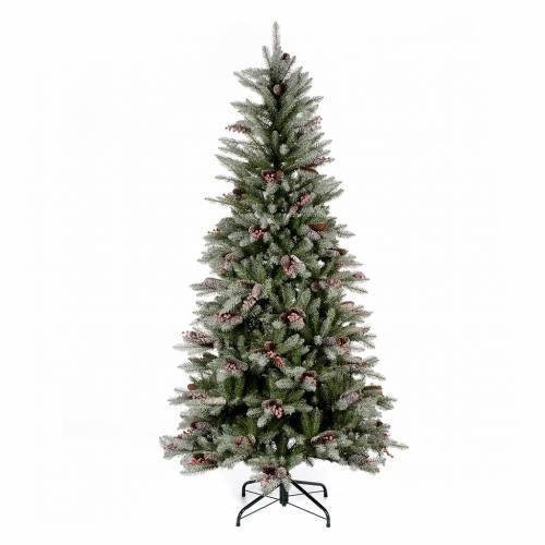 Albero di Natale 240 cm Slim con neve floccato bacche pigne Dunhill s1