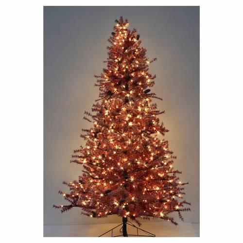 Albero di Natale 270 cm borgogna brinato e pigne 700 luci esterno s5