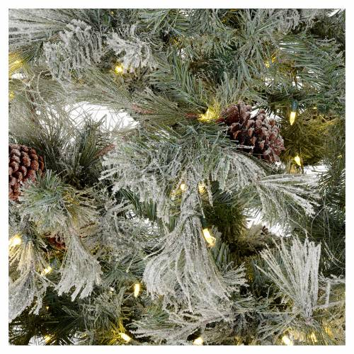 Albero di Natale 270 cm brinato pigne e brillantini 700 luci led s4