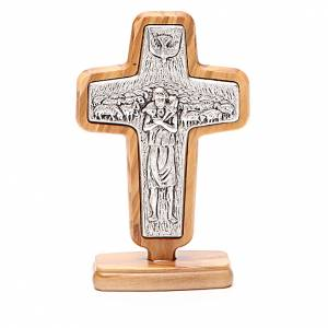 Standing crucifixes: Altar crucifix in metal With Pope Francis, olive wood 13x8.5cm