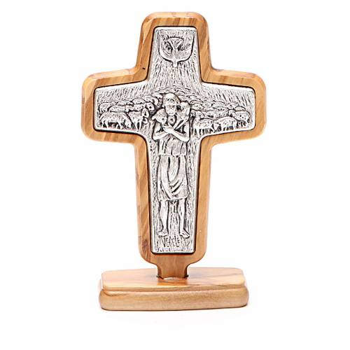 Altar crucifix in metal With Pope Francis, olive wood 13x8.5cm s1