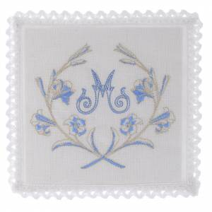 Altar linens: Altar linen Marian symbol grey & blue with flowers