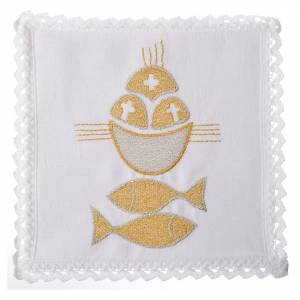 Altar linens set, 100% linen, fish and loaves s1