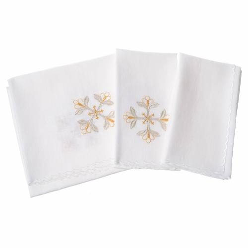 Altar linens set, 100% linen with cross and flowers s2
