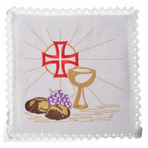 Altar linens set, 100% linen with cross, chalice, loaf and grape s1