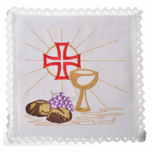 Altar linens set, 100% linen with cross, chalice, loaf and grape 1