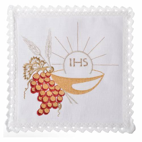Altar linens set, 100% linen with IHS, paten and grapes s1