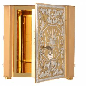 Altar tabernacle Lamb of God and Angel, bicolor brass s4