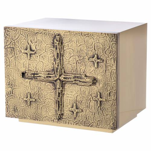 Altar Tabernacle with cross relief in gold plated brass, Molina s2