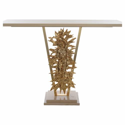 Altare ottone fuso Cristo risorto base marmo 102x150x60 cm s1