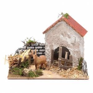 Animali presepe: Ambientazione contadina con asino 15x20x15 cm