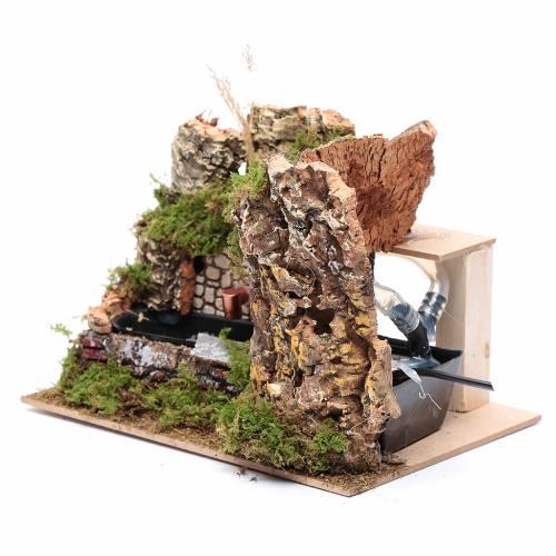 Ambientazione fontana con pompa e parete rocciosa 15x20x15 s2