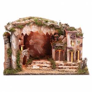 Capanne Presepe e Grotte: Ambientazione presepe 35x50x30 cm luci casetta e capanna