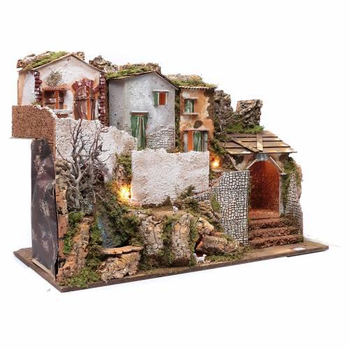 Ambientazione presepe con case 55x75x40 cm cascata e luci s3