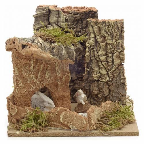 Ambiente pesebre conejos y corchos 14x15x14 cm s1