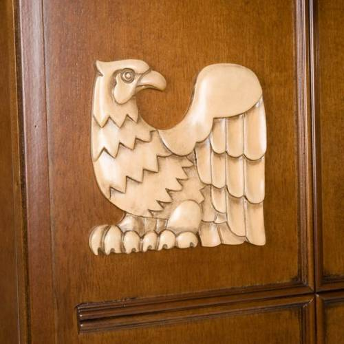 Ambone legno di noce simboli 4 evangelisti s3