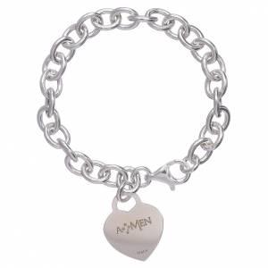 AMEN bracelets: AMEN 925 sterling silver bracelet with a pendant heart