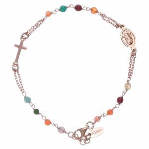 AMEN bracelets: AMEN 925 sterling silver rosary bracelet with coloured agate beads