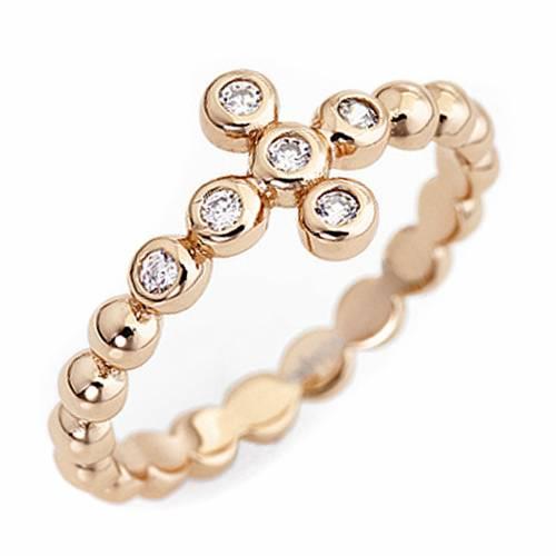 AMEN Beads Ring Rosè silver 925, white zircons s1