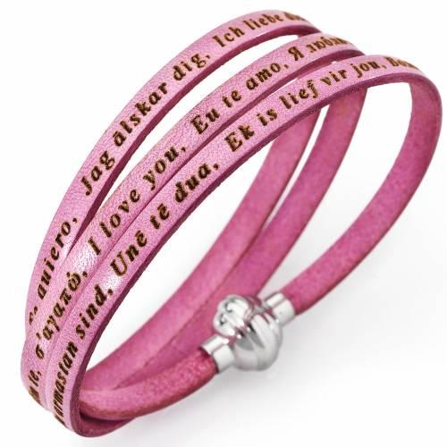 Amen bracelet I love you, pink with charm s1