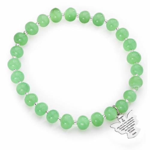 Amen bracelet in green Murano beads 6mm, sterling silver s1