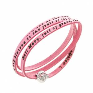 Amen Bracelet in pink leather Hail Mary ENG s1