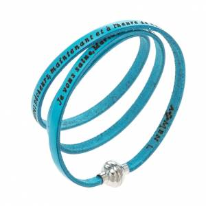 Amen Bracelet in turquoise leather Hail Mary FRA s1