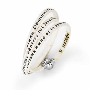 AMEN bracelets: Amen Bracelet in white leather Hail Mary LAT