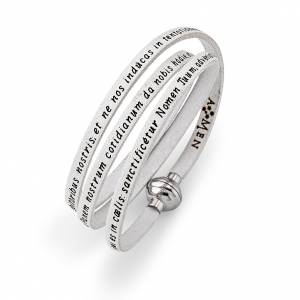 AMEN bracelets: Amen Bracelet in white leather Our Father LAT