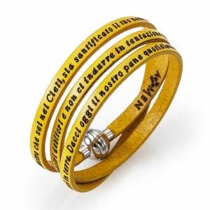 Amen Bracelet in yellow leather Our Father ITA s1
