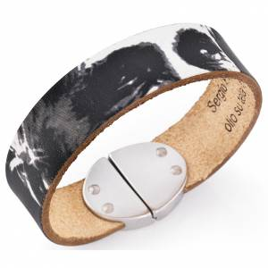 Amen bracelet, Pope Francis in black leather s1