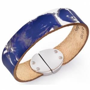 Amen bracelet, Pope Francis in blue leather s1