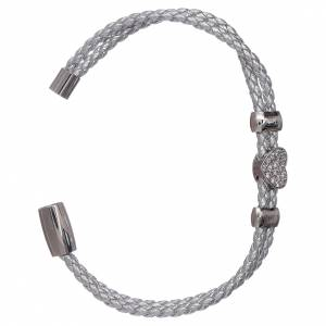AMEN bracelets: AMEN leather bracelet with a zirconate heart insert