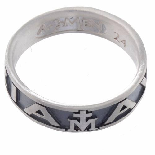 Anello AMEN Ave Maria argento 925 fin. Brunito s2