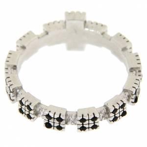 Anello argento 925 rodiato con zirconi neri s3