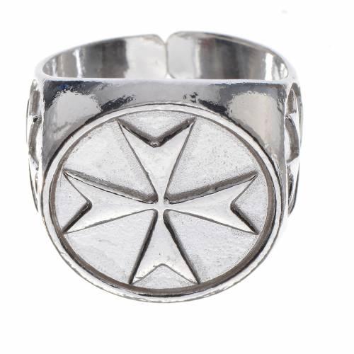 Anello per vescovi argento 800 croce di Malta s1