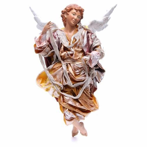 Ange blond 45 cm robe dorée crèche Naples s1