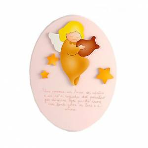 Angel and nusery rhyme pink plaque s1
