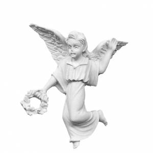Angel with crown, 11 cm reconstituted marble bas-relief s1