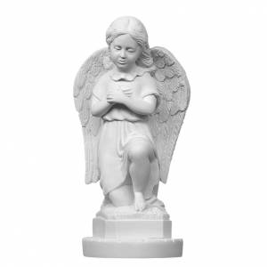 Angel with hands on heart in reconstituted Carrara marble 11,02i s1