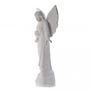 Angelo con fiori cm 100 marmo bianco s2