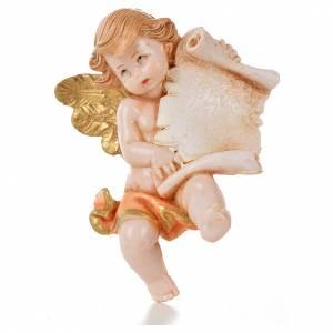 Angelo con pergamena rosa Fontanini 7cm tipo porcellana s1
