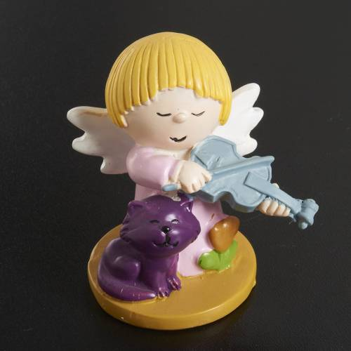 Angels in resin with animals and instruments, 4 pieces s4