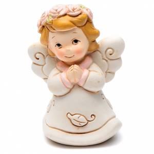 Angeli: Angioletto rosa che prega 6 cm resina