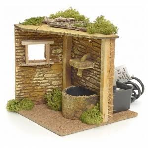 Angolo casa con fontana elettrica per presepe s2